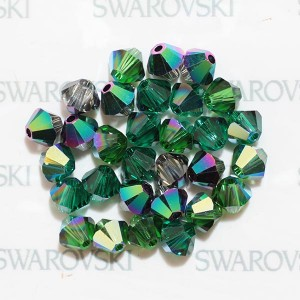 Swarovski 5328 XILION Bicone Green Luxury Mix 4mm - 30τεμ