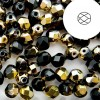 Χάντρα Fire Polished Round Black/Gold Ø4mm ~50τεμ