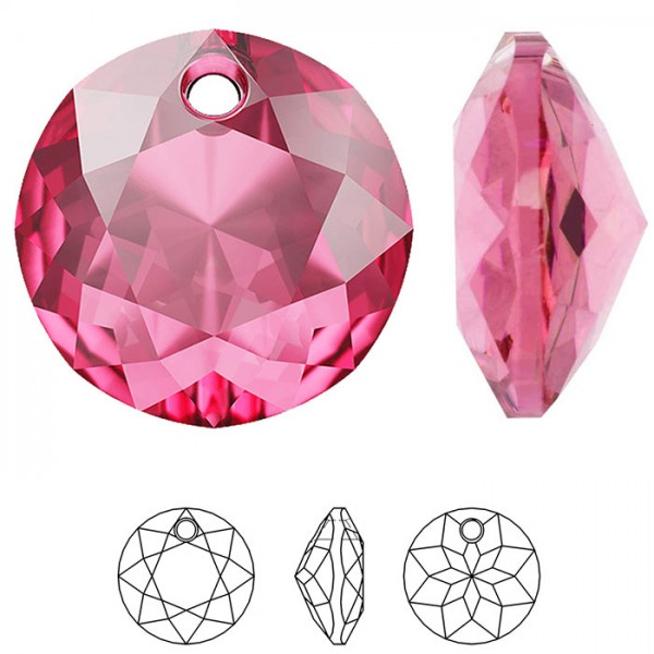 Swarovski 6430 Classic Cut Pendant - Rose 14mm - 1τεμ