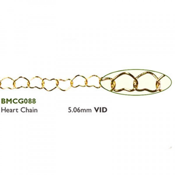 Αλυσίδα Heart 5.06mm Gold Plated - 0.5m