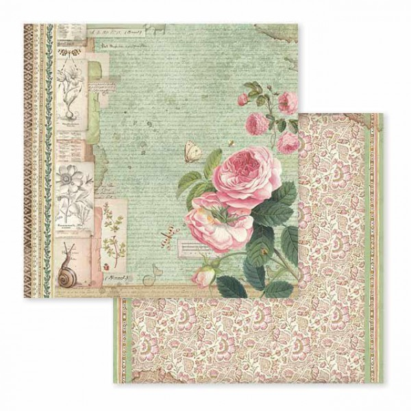 Χαρτί Scrapbooking Stamperia Διπλής Όψης - Spring Botanic English Roses With Snail - 31x30cm