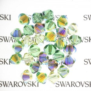 Swarovski 5328 XILION Bicone Green Tones AB Mix 4mm - 30τεμ
