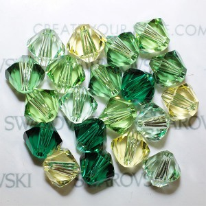 Swarovski 5328 XILION Bicone Green Tones Mix4 6mm - 20τεμ