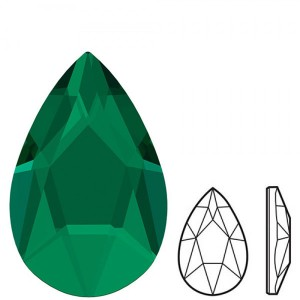 Swarovski 2303 Pear Flat Back Emerald 14x9mm - 2τεμ