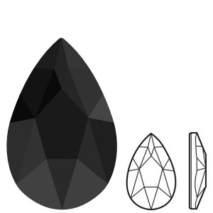 Swarovski 2303 Pear Flat Back 8x5mm Jet - 4τεμ