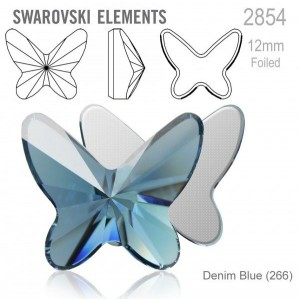 Swarovski 2854 Butterfly Denim Blue 12x10mm - 2τεμ