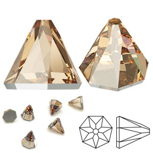Swarovski 2019 Round Spike Flatback GlueFix 6x6mm Crystal Golden Shadow - 6τεμ