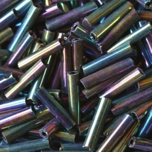 Χάντρα Glass Tubes Rainbow Navy Mix 9mm - 20gr