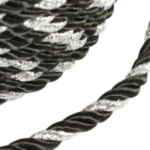 Κορδόνι Twisted Decorative Black Ø4mm ~5m