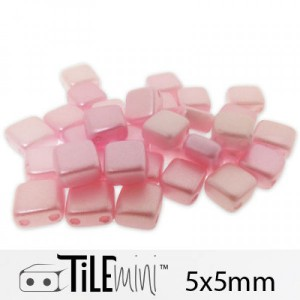 Χάντρα Czech Mini Tile™ - Pink Airy Pearl 5x5mm ~30τεμ