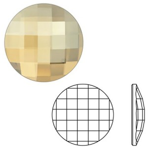 Swarovski 2035 Chessboard Circle Crystal Golden Shadow Ø14mm - 2τεμ