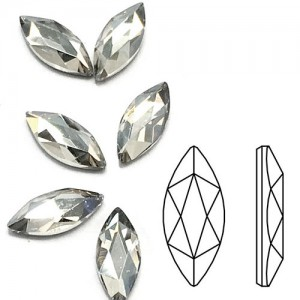Swarovski 2201 Marquise Crystal Silver Shadow 14x6mm - 2τεμ