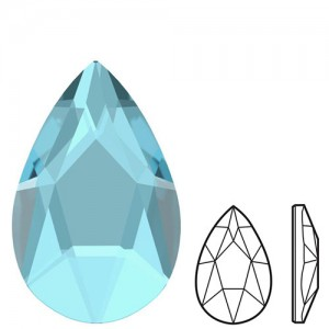 Swarovski 2303 Pear Flat Back 8x5mm  Aquamarine - 4τεμ