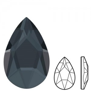 Swarovski 2303 Pear Flat Back 8x5mm Graphite - 4τεμ