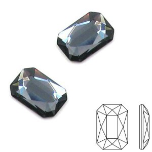 Swarovski 2602 Emerald Cut Graphite 8x5.5mm - 5τεμ