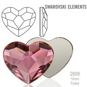 Swarovski 2808 Heart Crystal Antique Pink 10mm - 4τεμ