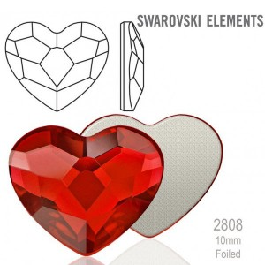 Swarovski 2808 Heart Light Siam 10mm - 4τεμ