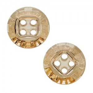 Swarovski 3018 Sew-On 4 Hole Rivoli Button Crystal Golden Shadow 14mm - 4τεμ