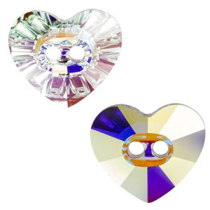 Swarovski 3023 Heart Button Crystal AB 16x14mm - 1τεμ