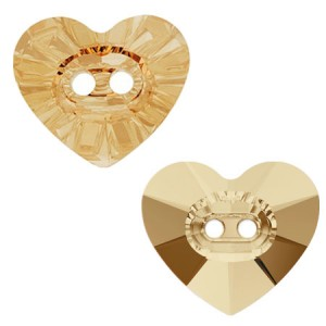 Swarovski 3023 Heart Button Crystal Golden Shadow 14x12mm - 1τεμ