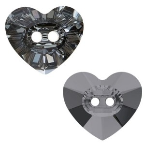Swarovski 3023 Heart Button Crystal Silver Night 12x10.5mm - 1τεμ