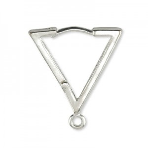 Σκουλαρίκι Beadalon Hinge Triangle 15mm - Silver Plated - 6τεμ