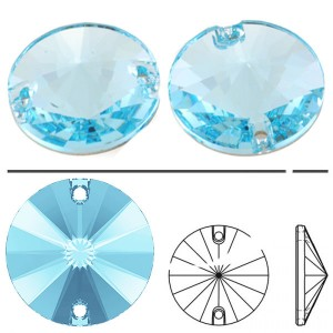 Swarovski 3200 Sew-On Rivoli Aquamarine Ø10mm - 4τεμ