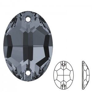 Swarovski 3210 Sew-On Oval Crystal Silver Night 10x7mm - 2τεμ