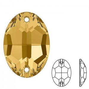 Swarovski 3210 Sew-On Oval Light Colorado Topaz 10x7mm - 2τεμ