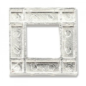 Katiedids 24.3x24.3mm Square 5 Holes - Silver Plated - 4τεμ