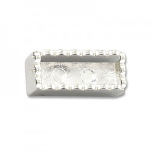 Katiedids Scalloped 19.5mm Rectangle 2 Holes - Silver Plated - 6τεμ