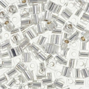 Toho® Χάντρα Cube (Κύβος) 3mm - 21 Silver Lined Crystal ~10gr