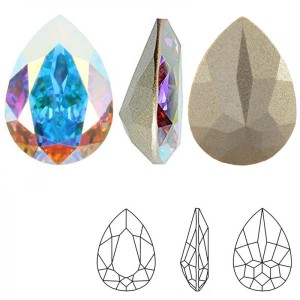 Swarovski 4320 Teardrop Crystal AB 14x10mm - 2τεμ