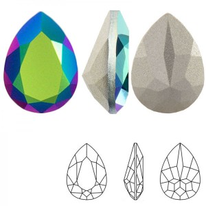 Swarovski 4320 Teardrop Crystal Scarabaeus Green 14x10mm - 2τεμ