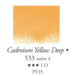 Χρώμα Ακουαρέλας Sennelier Half Pan -  533 Cadmium Yellow Deep