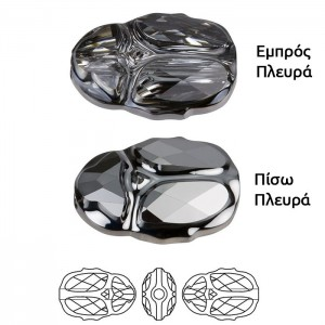 Swarovski 5728 Scarab Bead Crystal Silver Night 12mm - 1τεμ