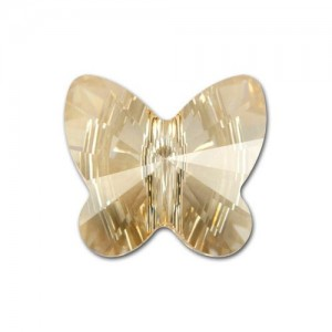 Swarovski 5754 Butterfly Crystal Golden Shadow 6mm - 5τεμ