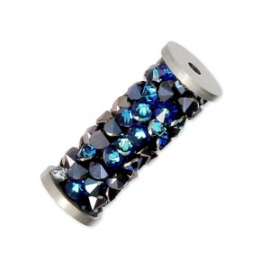 Swarovski 5950 Fine Rocks Tube, Crystal Bermuda Blue, Stainless Steel End - 15mm - 1τεμ