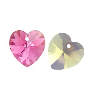Swarovski Xilion Heart 10.3x10mm Rose AB 6228 - 6τεμ