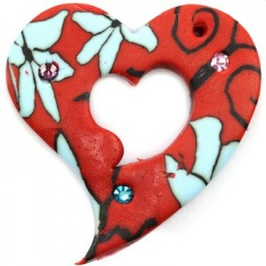 Fimo Κρεμαστό Red Heart 37x43mm