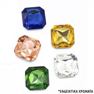 Glass Rhinestone Square Mixed Color 8x8x4mm - 5τεμ