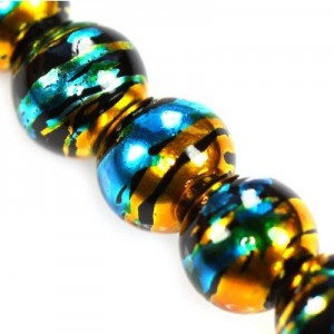 Cosmic Round Black w Gold 10mm ~86τεμ