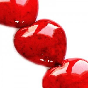 Marble Dyed Heart Red 12mm ~12τεμ