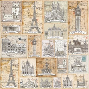 Ριζόχαρτο Napkin - Postecards from Europe - 50x50cm