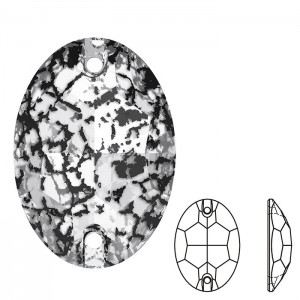 Swarovski 3210 Sew-On Oval Crystal Black Patina 10x7mm - 2τεμ