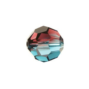 Swarovski 5000 Faceted Round Burgundy-Blue Zircon Blend 8mm - 6τεμ