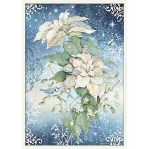 Stamperia Ριζόχαρτο για Decoupage - Poinsettia White- A3