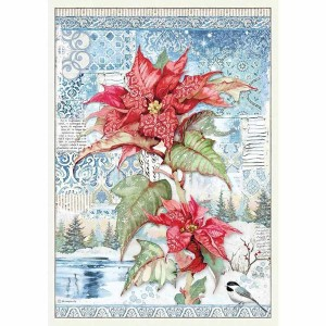 Stamperia Ριζόχαρτο για Decoupage - Poinsettia Red - A3