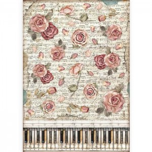 Stamperia Ριζόχαρτο για Decoupage - Passion Roses & Piano - A3