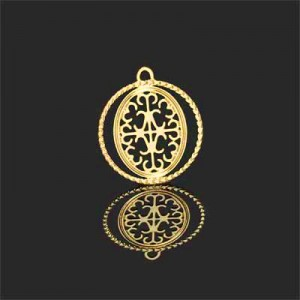 Διακοσμητικό 18K Forever Gold Filigree Medallion 17mm - 2τεμ